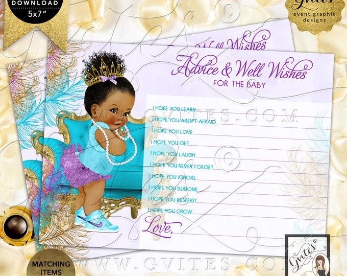"Purple Gold Turquoise Lavender Advice baby shower wishes | Dark/Bun Curly INSTANT DOWNLOAD | 7x5"" 2 Per Sheet 