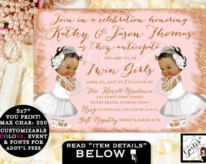 "Twin Baby Shower Invitation African American Baby Girls, Rose Gold & Blush Pink, Tiaras Princess Twins Invites 7x5"" Digital File. Gvites"