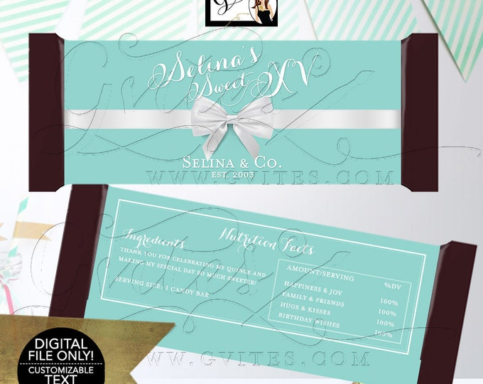 """Mis Quince XV Candy Bar Wrapper Favors Gifts, Blue White Teen Party Printable, DIY, Digital File. 2 Per/Sheet 5.25 x 5.75"""" {White Fonts}"""