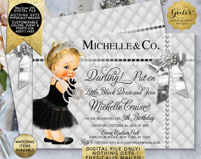 "Silver Baby 5th Birthday Invitations. Princess Tiara Silver Bow. Double Sided 7x5"" Digital File Only!"