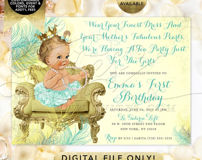 Mint Gold 1st Birthday Printable Invitation Vintage Princess Baby Girl 7x5""