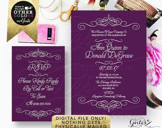 Purple Wedding Printable Invitation and Response Card Set. Digital File Only.