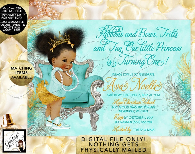 1st/2nd/3rd/4th Party Afro Puffs Princess,African American Baby,Tiara, Girl Turquoise Birthday Invitations, {Gold/Turquoise/Silver Feathers}