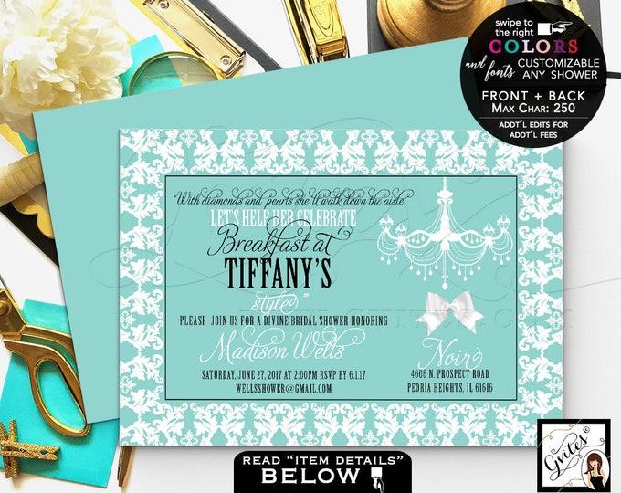 Breakfast bridal shower invitation printable invites, diamonds and pearls, wedding shower, lingerie shower, DIGITAL. Gvites