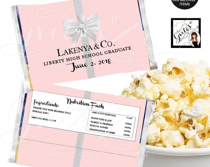 Microwave Popcorn Wrapper Pink Graduate and co, popcorn cover breakfast at white bow party favors. Digital {6.63 x 9.86 1-Per/Sheet}