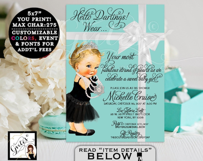 Baby and Co Breakfast at Blue Themed princess baby girl, black dress, tutu, diamonds pearls, blue party girls. PRINTABLE. Gvites