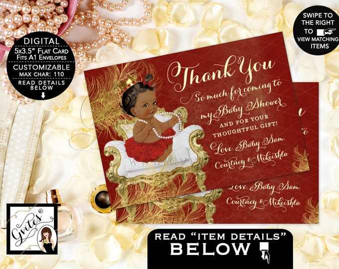 """Baby Shower Thank You Cards Red and Gold Princess Theme, Digital File Only! Nothing Gets Physically Shipped. {5x3.5"""" 4 Per/Sheet} Gvites"""