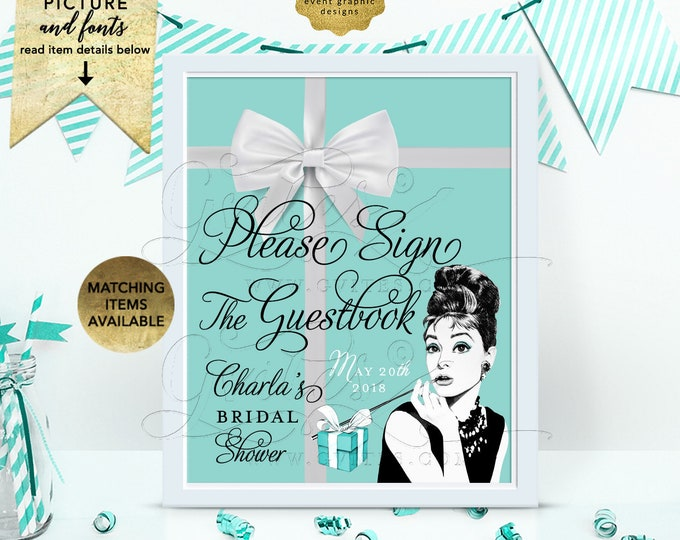 """Please Sign The Guestbook Breakfast at and Co themed - Audrey Hepburn Printable Party Signs, Digital File Only! 8x10"""""""