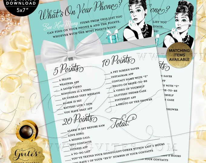 "What's On Your Phone Game Cards | Audrey Hepburn Bridal Shower | Printable Digital File | JPG + PDF | Instant Download | 5x7"" 2/Per Sheet"