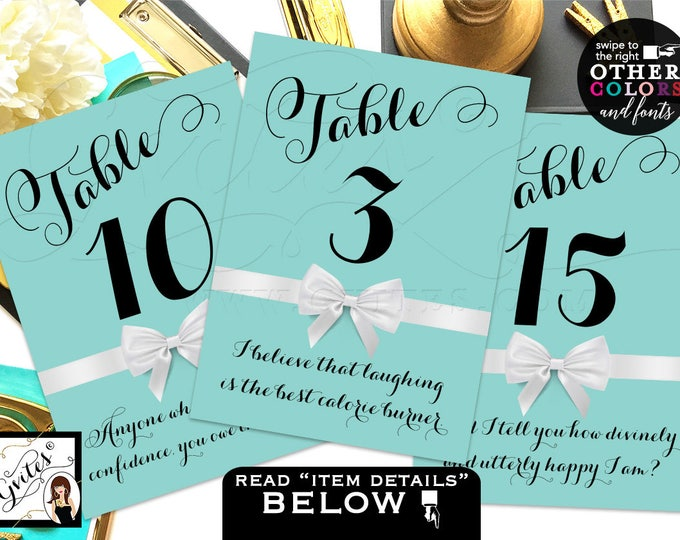 Breakfast at Table Numbers, Party Theme, table numbers with different Audrey Hepburn quotes or your own text. 4x6 or 5x7.
