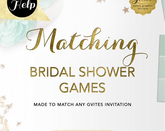 Matching Bridal Shower Printable Games Add-on - To Coordinate with any Gvites invitation design.