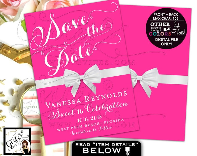Pink Sweet 16 Save The Date Cards, Breakfast at Themed, White Bow, Quinceanera, Printable, Custom Birthday Card, Digital, Teen Sixteen, DIY.