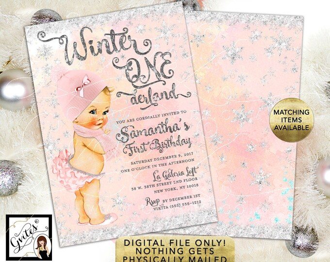 """Winter Onederland Invitation Birthday - Blush Pink and Silver Watercolor Digital Background Silver Snow Flakes, 5x7"""" Double Sided."""