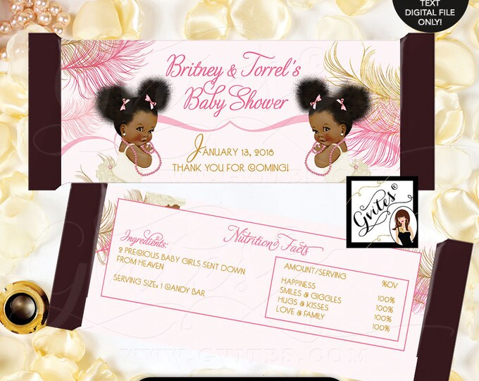 Twins Candy Bar Wrapper Baby Shower chocolate bar party favors, wrappers, gold and pink, vintage ethnic baby girl.  2-Per/Sheet #RBNAPU004