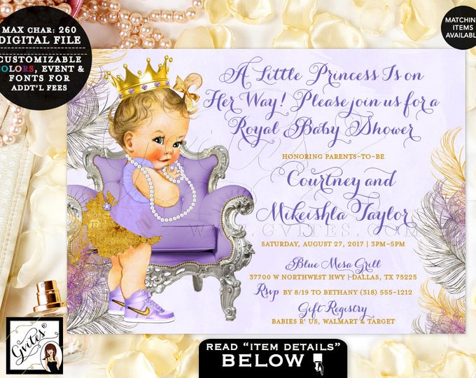 Lavender Silver and Gold Baby Shower Invitations, A little princess is on the way, tutu gold crown, vintage girl, lilac silver, 7x5, DIY