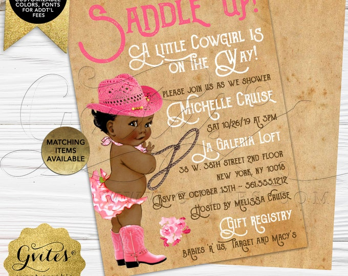 "African American Cowgirl Baby Shower Invitation | Printable/Digital File Only! JPG + PDF Format | 5x7"" Double Sided 