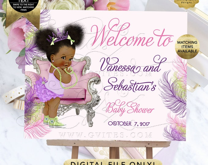 Purple Pink Welcome Sign Baby Shower Poster, Signs Decoration, Lime Green Princess Afro Puffs Entrance Decor, DIY, Digital, Printable.
