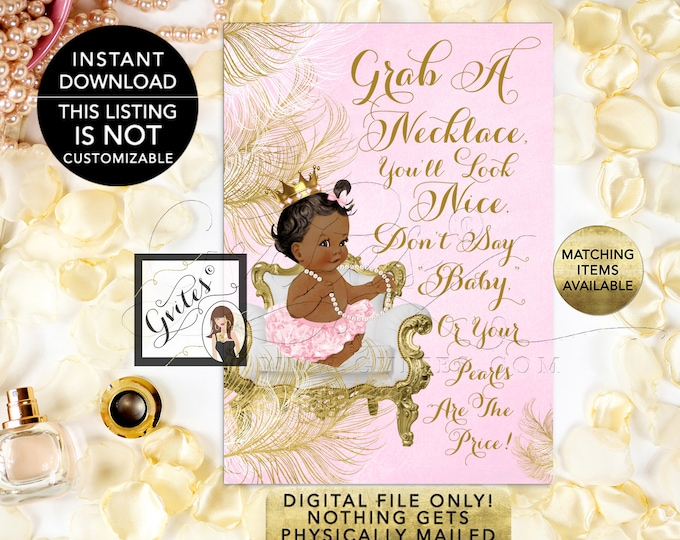 """Don't Say Baby Necklace Game, Princess Pink & Gold Princess Baby Shower, Digital, Printable 5x7"""" Skin Tone: Dark/Jet {White/Gold Feathers}"""