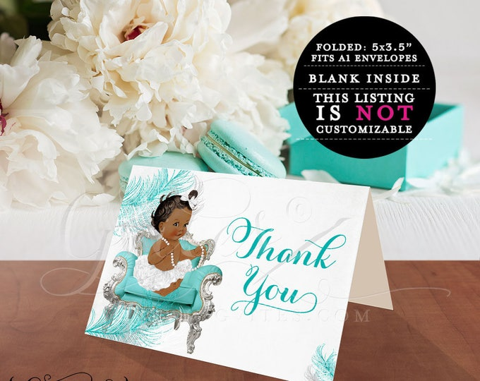 "African American thank you cards, ribbons bows, diamonds pearls, baby girl, silver white blue, baby thank you cards 5x3.5"" 2 Per/Sheet"