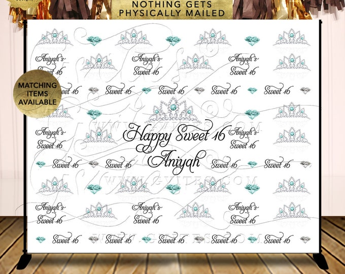 Step & Repeat Backdrop Silver and Blue Tiara Diamonds | Digital Printable File Only! JPG + PDF | By Gvites