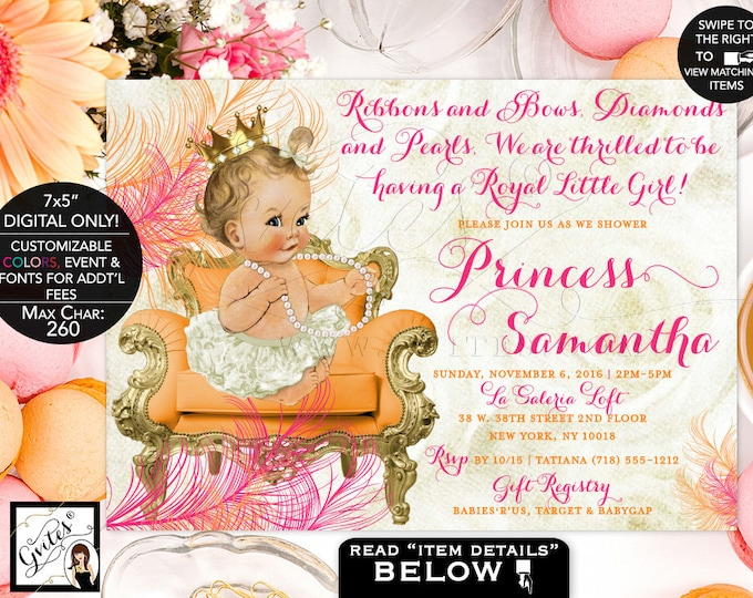 "Orange and Pink Baby Shower Invitation, Gold Printable Princess Girl Vintage Invites, Gold Crown Ribbons Bows Diamonds Pearls 7x5"" Gvites"