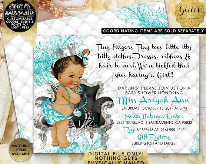 Silver and Blue Breakfast at Baby and Co Baby Shower Printable Invitations, DIY, Tiny Fingers Tiny Toes, Vintage Girl Tutus Diamonds Pearls