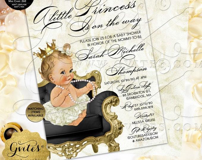 Ivory Gold Princess Baby Shower Invitation Digital PDF + JPG | Design: WHRST-102 By Gvites