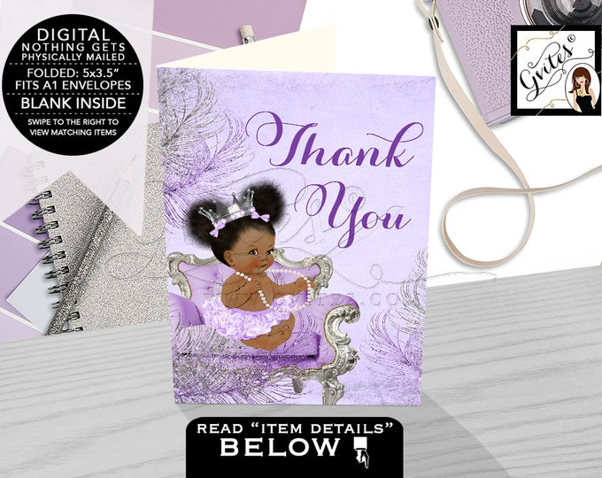 Thank You Cards Lavender Purple & Silver Baby Shower, African American Baby Girl Afro Puffs, Diamonds Pearls Princess Silver Crown.