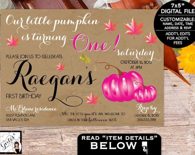 Vintage First Birthday Girl Invitation, Pink Pumpkin Invitations, Fall baby invites, 1st birthday girl.