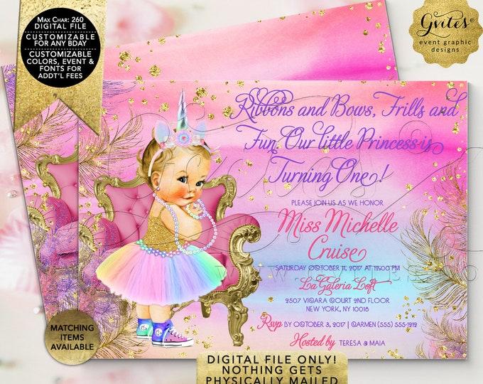 "Unicorn Birthday Invitation | Printable Digital File Only | Ribbons Bows Frills Fun | 7x5"" Double Sided | JPG + PDF Format."