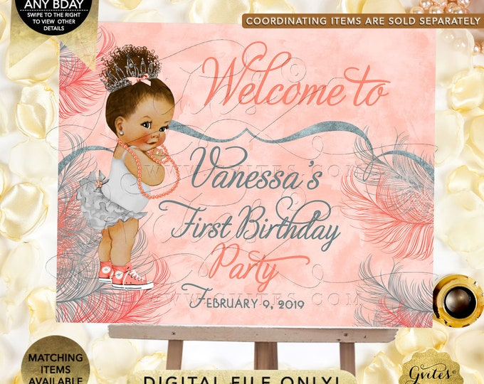 Welcome First Birthday Signs | Afro Puffs Vintage | Printable Digital File | JPG + PDF | Customizable Any Bday!