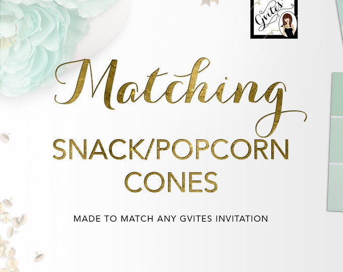Matching Popcorn Cones Add-on - To Coordinate with any Gvites invitation design. Popcorn Cones, party snacks, candy wrappers, snack cones.