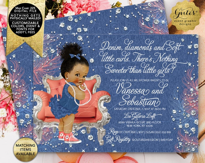 """Denim and Soft Little Curls Coral Silver, Baby Shower Invitation, Afro Bun Curly Vintage African American Girl. 7x5"""" Double Sided"""