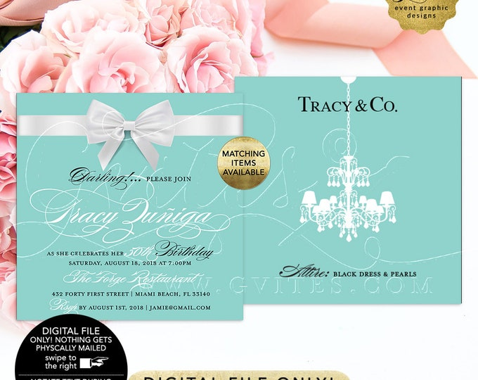 "50th Birthday Printable Invitation, Breakfast at blue themed invites, White bow chandelier elegant digital invitations. 5x5"" Double Sided."
