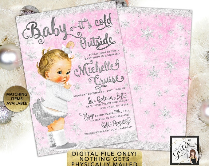 Light Pink & Silver Winter Invites, Baby it's Cold Outside Invitations, Wonderland Vintage Baby Girl. Printable, Digital File!