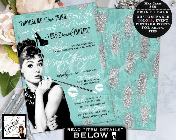 Turquoise Blue Silver, Breakfast at Themed, Bachelorette Party Invitation, Audrey Hepburn quote digital invites, 5x7, Gvites