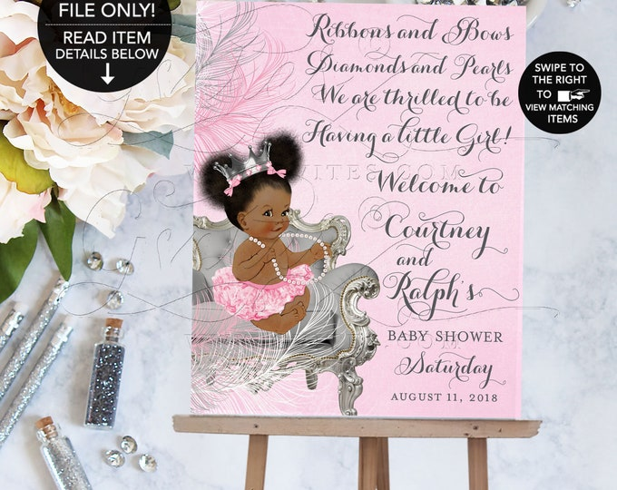 Welcome Sign Pink and Silver Baby Shower, Princess Poster Signage, Printable, Digital File, DIY, Silver Crown, Diamonds Pearls, Ribbons Bows