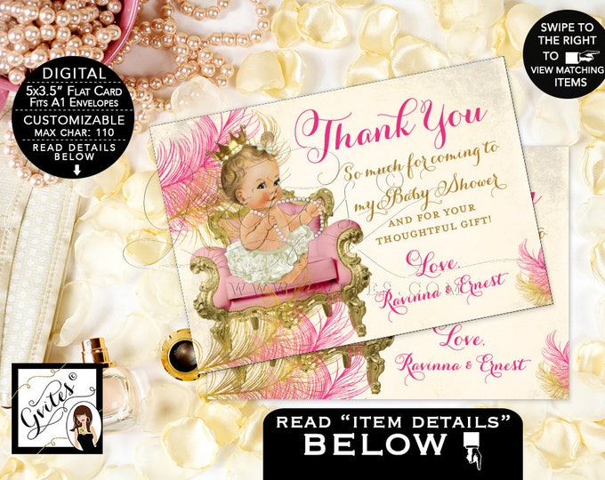 "Thank You Cards Pink and Gold Baby Shower Printable Greeting Card, Princess Vintage Printable, DIY, Personalized Message, 5x3.5"" 4 Per/Sheet"