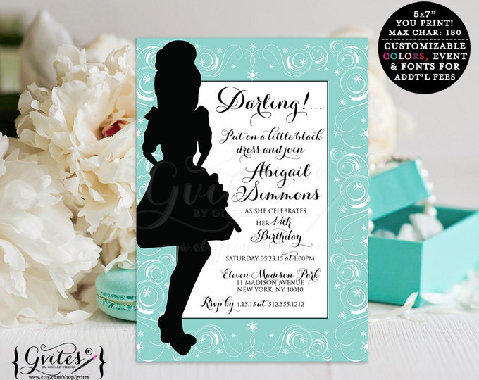 Baby and Co breakfast invitations, Birthday invitation, adorable breakfast invite, teal and black, bordered, cute cards, PRINTABLE.