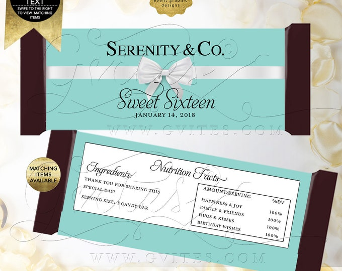"""Candy Bar Wrapper Birthday party favors, Breakfast at co blue labels Customizable Text/Colors & Fonts Per/Sheet 5.25x5.75"""" {Satin Ribbon}"""