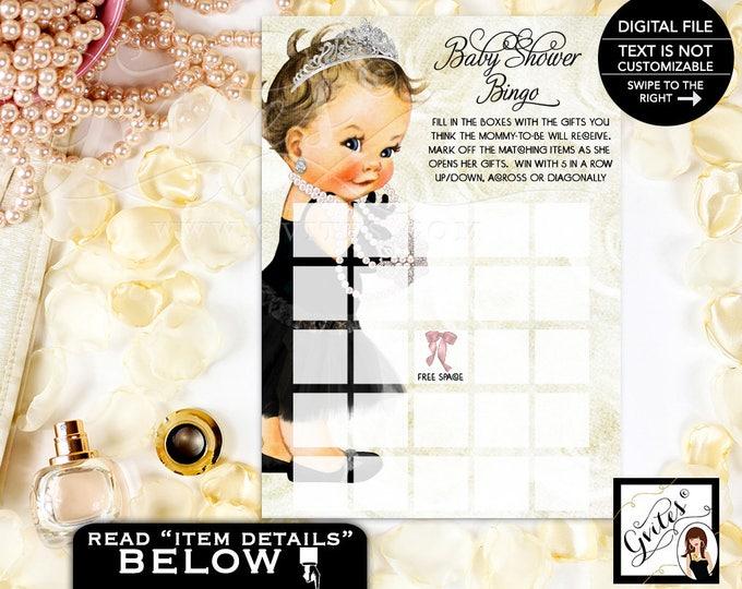 "Baby Bingo Cards, Princess Baby Shower, Diamonds Pearls, Little Black Tutu Dress, Breakfast at Printable, DIY, Digital File 5x7"" 2 Per/Sheet"