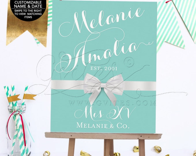 Mis Quince Sign, Breakfast at Decoration Entrance Welcome Signs, XV Party Printable Decor Quinceanera, DIY, Digital File Only!