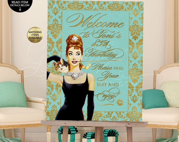 Welcome 85th Birthday Signs, Holiday, Christmas, breakfast at blue co themed, Audrey Hepburn party supplies, Printable Digital! Gvites