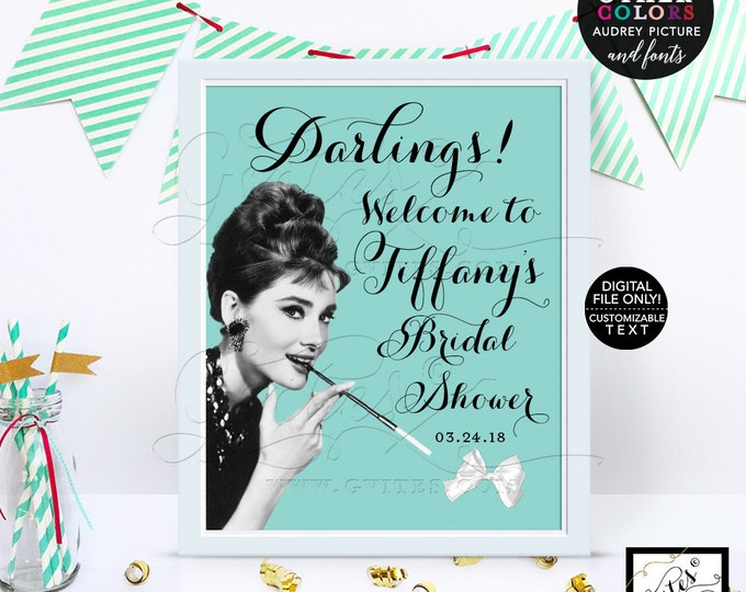 Welcome Audrey Hepburn Sign, Bridal Shower Decoration, Poster, Sign, {Customizable First Name + Date Only!} 8x10