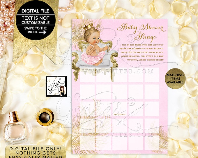 "Baby Shower Bingo Pink and Gold Cards Princess Baby Shower, Digital Game Girl Vintage, Printable 5x7"" 2/Per Sheet {White/Gold Feathers}"