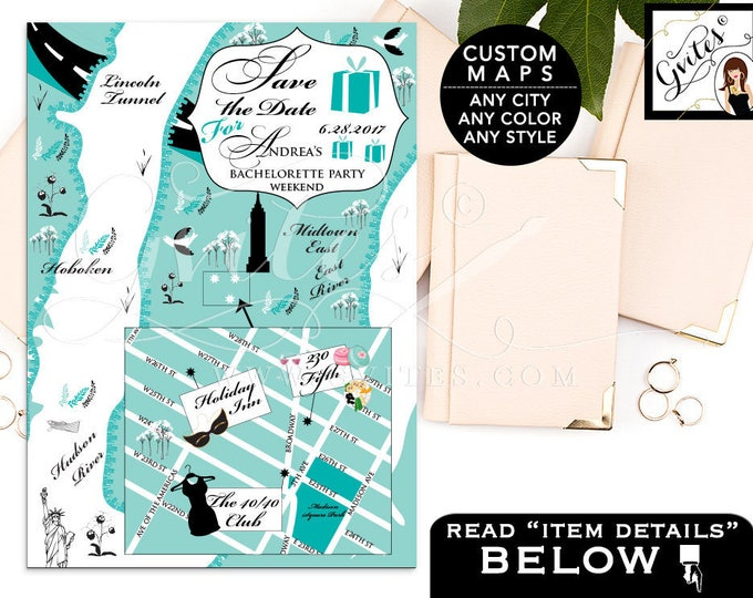 Maps Save The Date Audrey Hepburn, Breakfast at Custom digital wedding personalized maps, save the dates, New York, Texas, ANY City/Theme