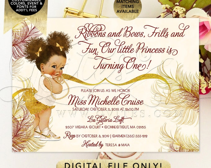 Ivory and Gold Ribbons and Bows First Birthday Invitation. Printable File. PDF + JPG File. 7x5""