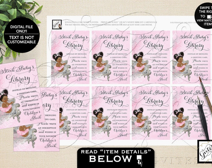 "Book Request Pink & Silver Baby Shower Printable, Ribbons Diamonds Pearls INSTANT DOWNLOAD 3.5x2.5"" 8/Sheet. {African Amer Baby: Dark/Puffs}"