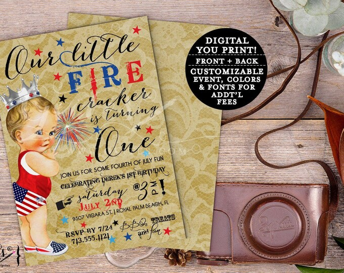 July Fourth theme, 1st Birthday fireworks, Independence day birthday party, Patriotic Invitation , invitations that are custom, vintage.