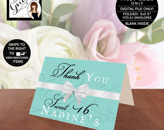 "Sweet Thank You Cards Folded, Breakfast at and co theme, blue and white bow, Blank Inside, Printable, Digital File. 5x3.5"" 2 Per/Sheet"